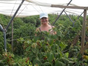 Keely in the raspberries.